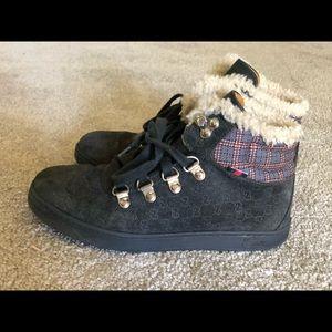 Gucci Kid's Grey Suede Sneaker (Canvas,Fur Trim)